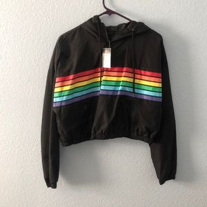 Cropped rainbow jacket
